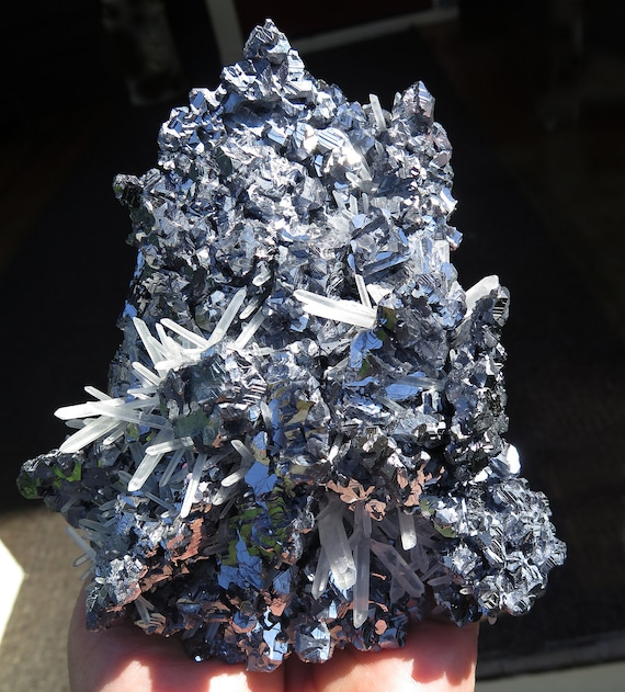 Love this Spinel law twin Galena with quartz sprays. Madan Bulgaria. Crazy luster and form. 15 cm Ex Spirifer collection. 4 lb. 5.2 oz