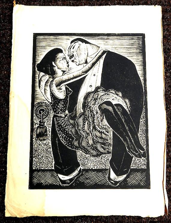 Large Vintage Wood block Print Gan Kolski Polish-American 1899-1932