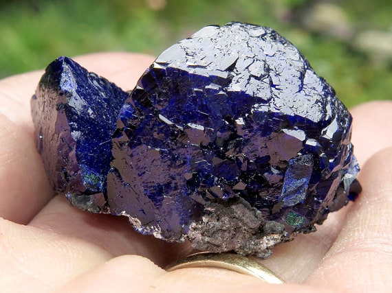 Two Main Blade Fine Azurite. Shocking blue from the well known Watercourse Pocket find. 1280m Level Milpillas Mine, Mexico