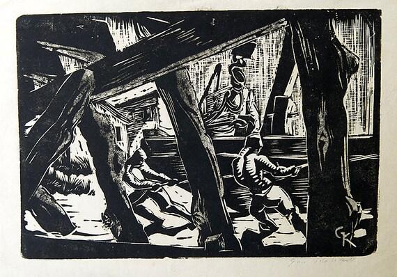Vintage Signed Wood block Print Gan Kolski Polish-American 1899-1932