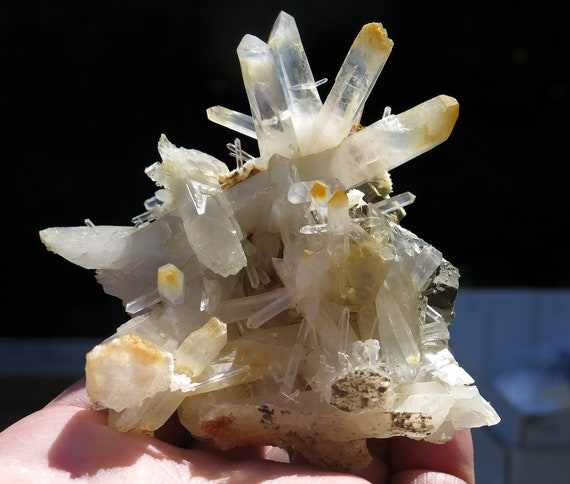 Mango quartz, Halloysite included cluster. Recent Find, Boyaca, Colombia 3.5 inch complete with all crystals healed. 147.5g, no damage