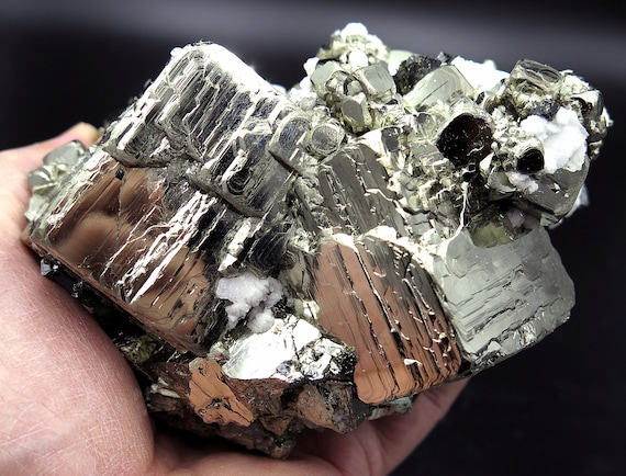 5 pound 6.6 ounce Fine Twin main cube Pyrite. Mined from Huanzala Mine, Peru