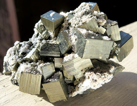 High Luster Pyrite with quartz. Huanzala Mine, Huallanca, Dos de Mayo, Huanuco, Peru