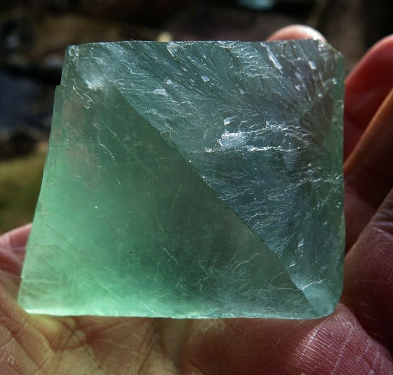 Large 3 inch Fluorite Octahedron cleaved Crystal 8 ounces