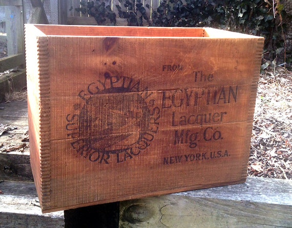 """Old wood box. """"The Egyptian Superior Lacquers Mfg. Co"""" New York, USA. Perfect condition with tight dove tail construction. 10.5X21X15 inch"""