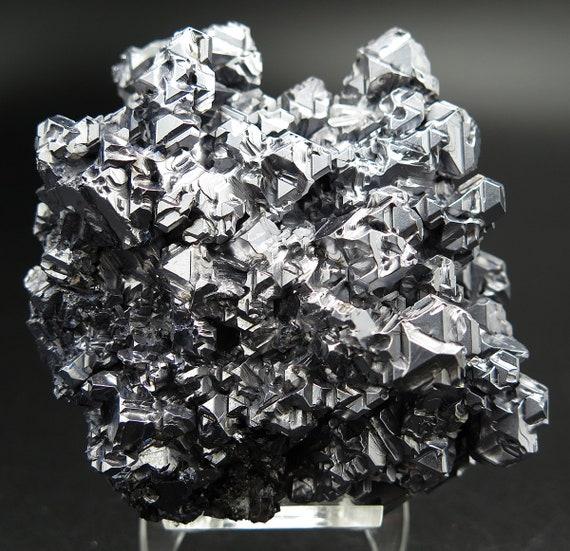 Quality 437 gram Galena crystal Spinel-law twinned crystals with quartz. Krushev Dol Mine, Davidkovo, Rhodope Mountains, Bulgaria