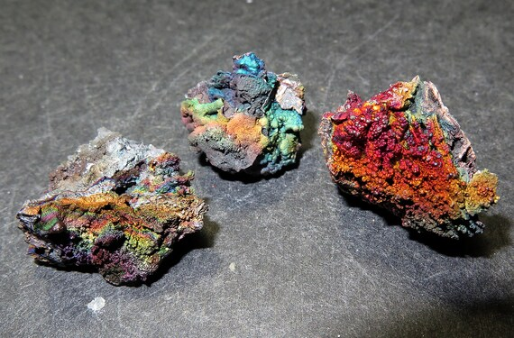 3 Iridescent Rainbow Goethite Turgite total 23.3 gram, Graves Mt. Georgia USA