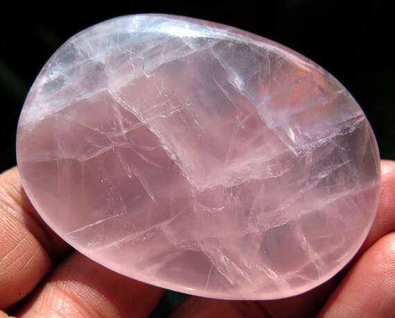 2.75 inch across Gem Rose Quartz. Translucent. Polished throughout. Madagascar. Beautiful +