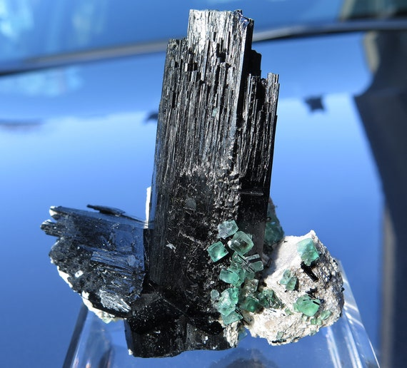 Lustrous Schorl with fluorite on Feldspar. Erongo Mountain, Usakos & Omaruru District, Namibia. Ex Collectors Edge