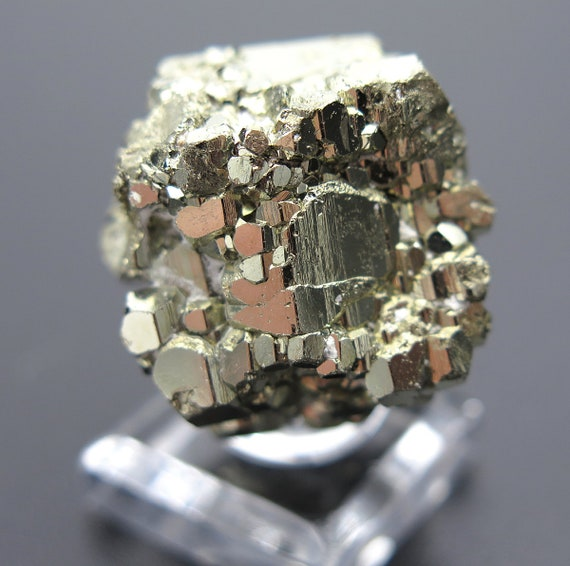 30.1 Gram Complete Complex Cool New Find of Pyrite. Pyritohedron, Twinned Crystal. Racracancha Mine, Pasco Dept. Peru