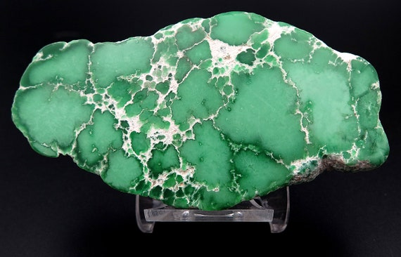 A old collection 4 inch Solid Variscite nodule slab Polished 2 side. One big nodule of rich green. Clay Canyon, Fairfield, Utah USA