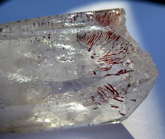 76 Gram Hematite Fire Included Quartz Crystal. 2.75 inch tall. Namibia