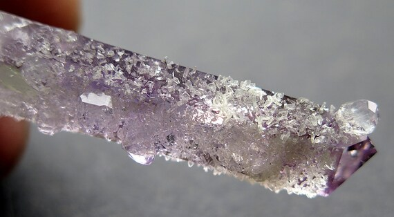 Our Favorite, Amethyst Smoky Phantom Quartz Crystal dripping with Analcime and Prehnite, Goboboseb, Brandberg, Namibia