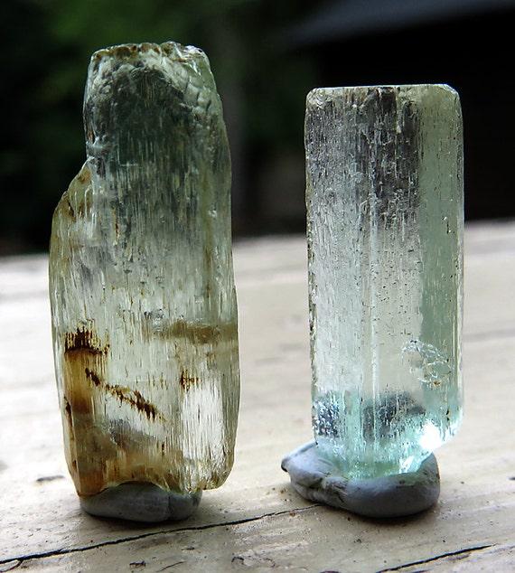 2 Gem Aquamarines, 1 is double terminated. 6.2 Grams on both. Madagascar