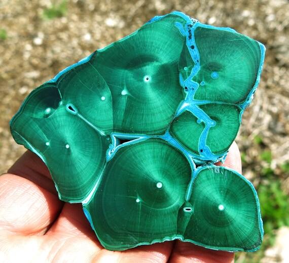 Large high quality Malachite Chrysocolla slice. L'Etoile du Congo mine, Ludumbashi, Katanga Prov., D.R. of Congo 3 1/8 inch