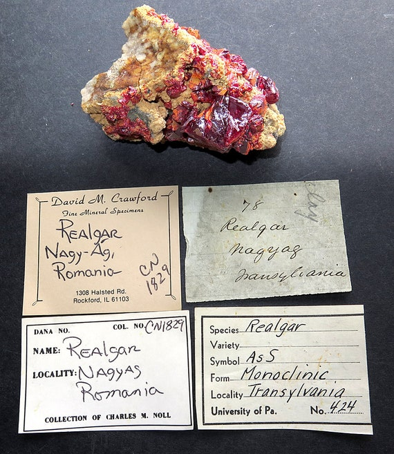 Realgar with a Long History. Mined in Nagy-Ag, Transylvania, Romania label. Well documented from 4 collection. Mined 1829