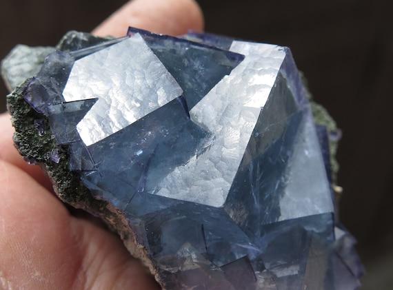 Fluorite on matrix. Yaogangxian W-Sn ore field, Yizhang Co., Chenzhou, Hunan, China. See the video