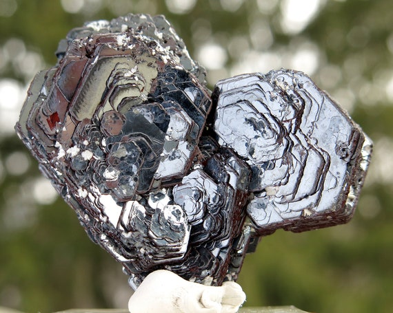 The finest Hematite Iron Rose we have had. Ouro Preto, Minas Gerais, Brazil. Miguel Burnier District. Two collection labels