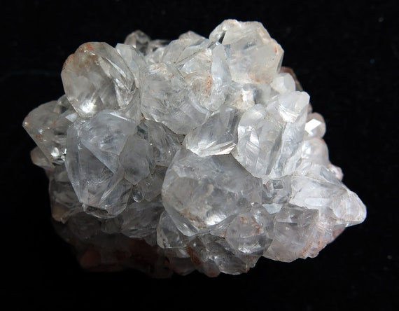 Well documented Calcite crystals. Pallaflat mine, Egremont, West Cumberland (Cambria) England. Two labels shown