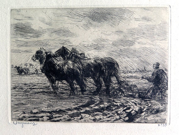 "Vintage Etching, ""Ploughing"" by Waalko Jans Dingemans Dutch 1873-1925 Signed, Numbered 38"