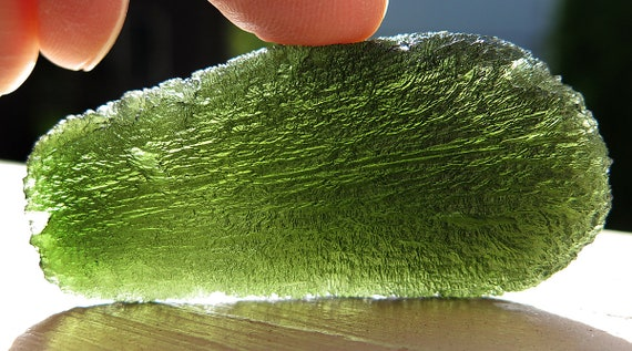 Best of the best. One 40.7 gram perfect Moldavite. Shape, color, transparency, damage free. From the miners in the Czech Republic