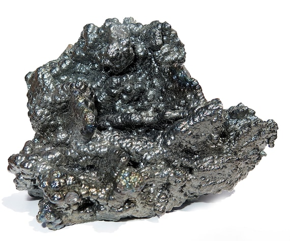 Quality Large 5 inch Botryoidal Hematite with some iridescence. 5 inch across. Lustrous. Hunan China. 2 pound 12 oz.