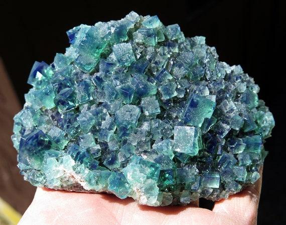 Two side color change Fluorite. Heavy Metal Pocket, Diana Maria Mine, Frosterley, Weardale Co., Durham, England. 4.5 inch