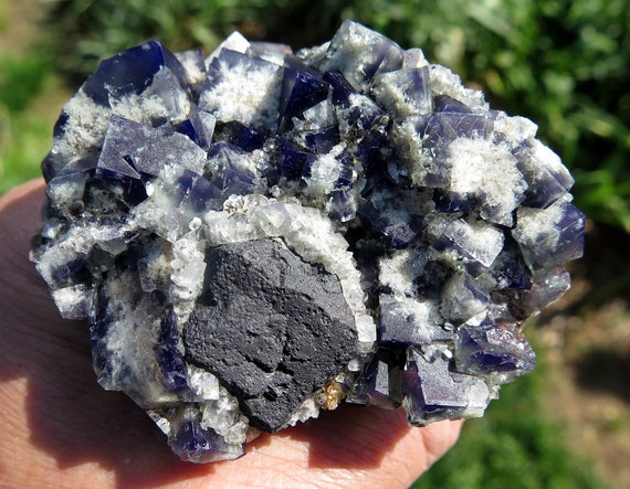 Twinned crystal Fluorite with Galena from the Milky Way pocket. Diana Maria mine, Weardale, Co., Durham, England. 3 inch