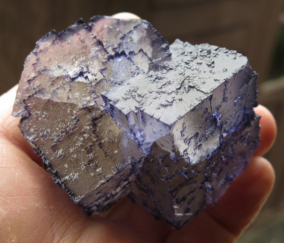 Excellent condition Fluorite interlocking twin cubes. Translucent throughout. Elmwood mine, Smith County, Tennessee 2.75 inch