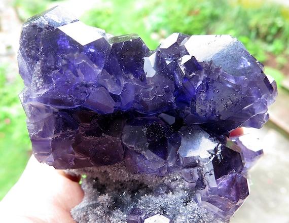 Rich color Fluorite, Quartz. Xia Yang mine, Yongchun Co., Quanzhou, Fujian, China. 3.5 by 3 inches tall. No damage. See the Video