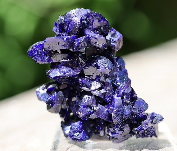 Electric Blue Crystallized Azurite cluster. Milpillas mine, Cuitaca, Sonora, Mexico. Outstanding floater. 20.6 grams