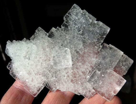 """An Excellent Halite """"Minecraft"""" crystal. Rudna mine, Lubin, Poland. 4.25 inch across. See the video"""