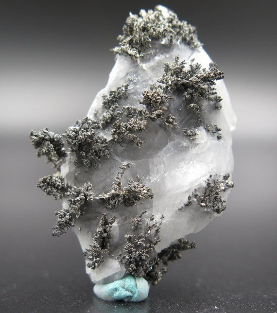 Natural Herringbone growth Silver crystals on and in calcite. Imiter Mine, Tinghir Province, Morocco