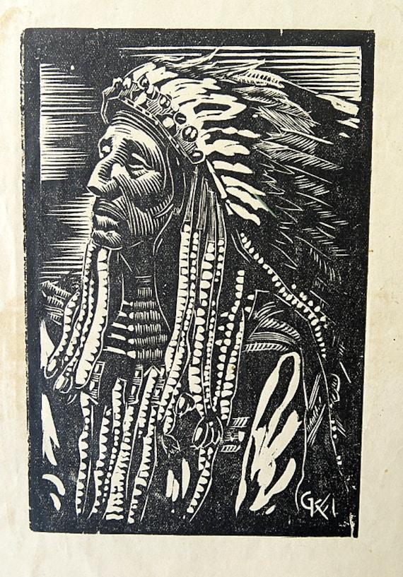 Vintage Wood block Print Gan Kolski Polish-American 1899-1932 American Indian
