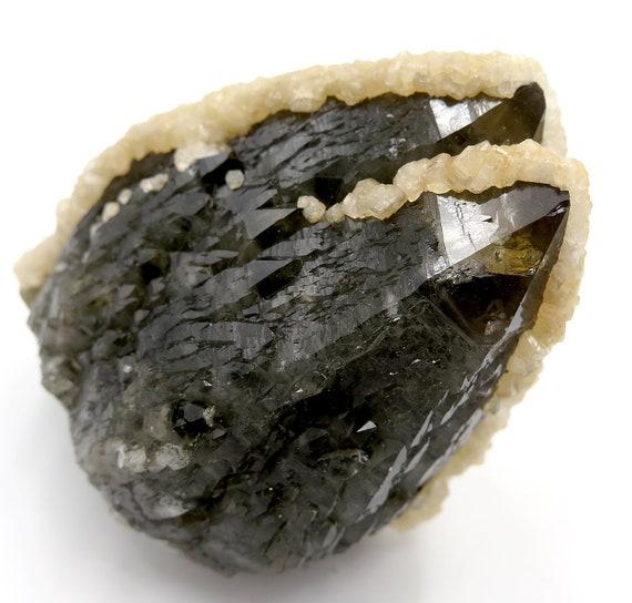 A classic smoky twin smoky quartz with dolomite from Romania