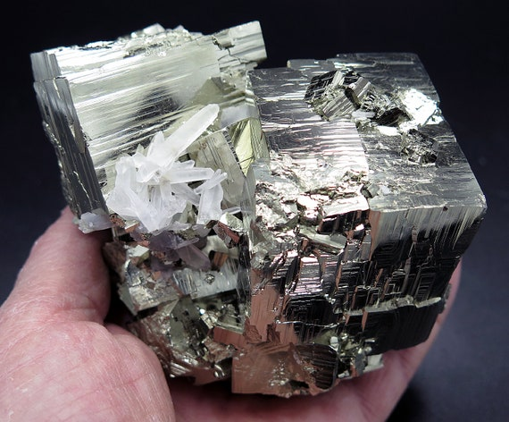 High Interest 3 interlocking Pyrite Cubes (and many more)  with Quartz Crystals. 3 pound 2.5 ounces. Huanzala Mine, Peru