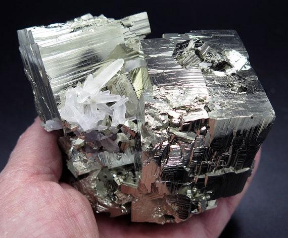 High Interest 3 interlocking Pyrite Cubes (and many more)  with Quartz Crystals. 3 pound 2.5 ounces. Huanzala Mine, Peru