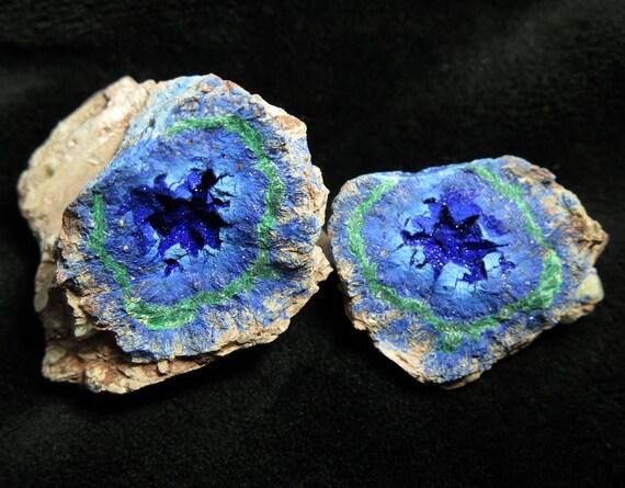 Azurite / Malachite Geode, Blue Ball mine, Miami, Gila Co., Arizona, USA Ex. Layton Talbott Collection with label