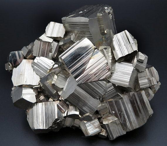 Fine 5 inch Pyrite Cluster. Mined at Racracancha Mine, Cerro de Pasco, Peru