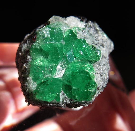 Radial Flower of Tsavorite Garnet. Merelani Hills, Lelatema Mts., Tanzania. Crystal faces on all. 17.1 grams