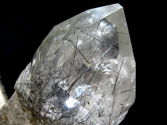 Large cabinet natural no polish Quartz with included Schorl Needles crystal. Diamantina, Minas Gerais, Brazil. 8.5 inches tall. See video