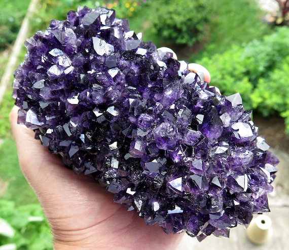 A perfect extra large Black Amethyst Stalactite from Uruguay. 5.5 inch tall by 3.5 inch wide. 3.5 pounds