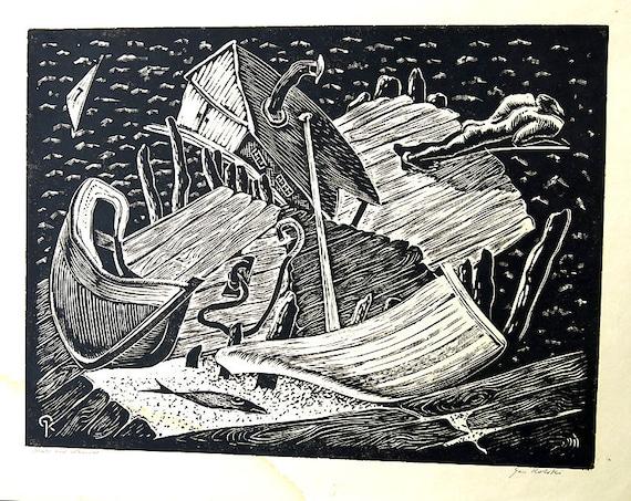 "Signed Wood block Print Gan Kolski Polish-American 1899-1932 ""BOATS & Wharves"""