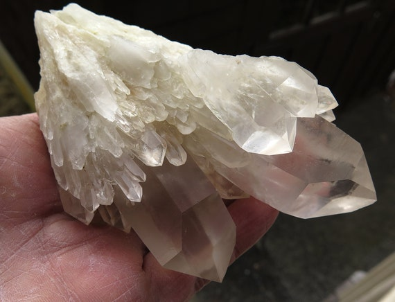 Very Light color Translucent Natural Citrine Cascading Channeling Quartz Cluster, Congo. 5.25 inch tall. 13.3 ounce. Nice one