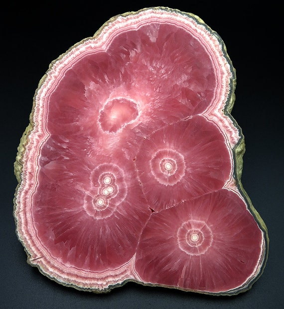 6 Inch Rhodochrosite slice. Old time Collection from Capillitas, Argentina.
