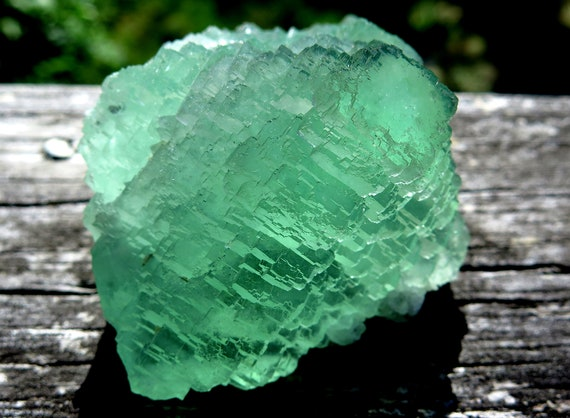Bright, lustrous and translucent, stepped Fluorite crystal. Rujuan Fluorite mine, Shaoguan, Guangdong Prov., China. 3.25 inch. See Video