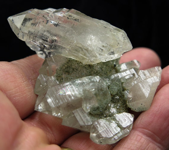 Quartz crystal cluster with Chlorite, Himalayan Mountains Pradesh, India. The main point cluster is double terminated.