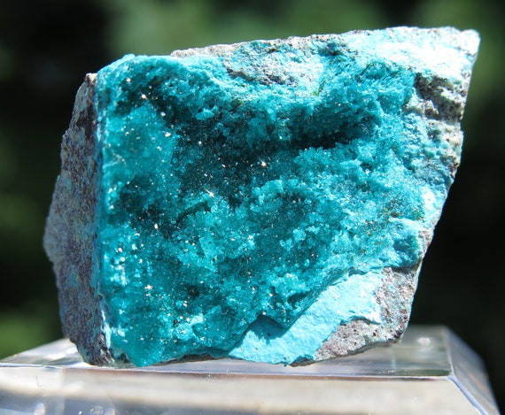 Dioptase Chrysocolla on matrix. Milpillas mine, Cuitaca, Sonora, Mexico