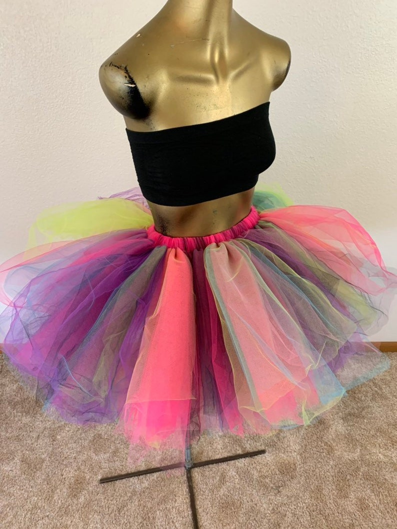 c3daa8b80 Adult tutu skirt edc edm rave color run tutu sewn tutu multi | Etsy