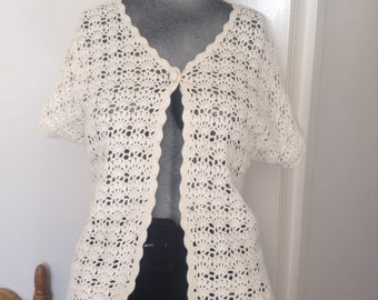 Vintage Bentley Ramie Cotton Crochet Jacket Short Sleeved Medium